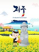 Beautiful Korean Island, Jeju. Yellow rape flower field and stone grandfather. A traditional female diver welcomes you to visit Jeju Island. Jeju, Korean translation.