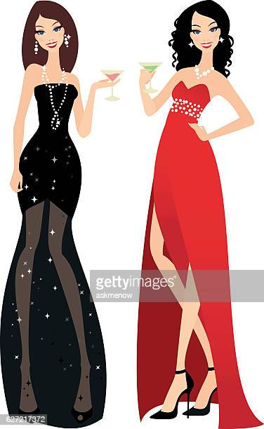 Beautiful ladies in evening gowns