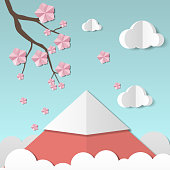 Beautiful landscape with sakura branch and flowers, clouds and mountain. Paper art style. Projects template for business. Vector art and illustration
