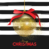 Beautiful, Merry Christmas card template, banner, layout design. Abstract golden (gold) glitter placer Christmas ball with red silk bow on striped black and white background hand drawn brush strokes