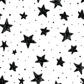 Beautiful monohrome black and white seamless sky pattern with textured stars, hand drawn