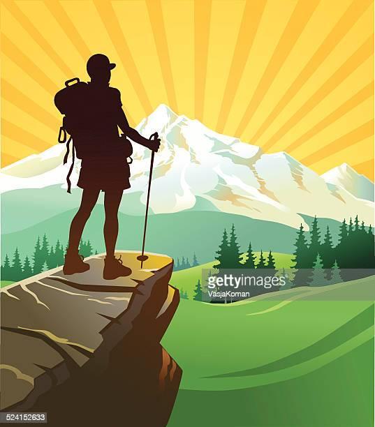 Hermosa y a la montaña de excursionistas