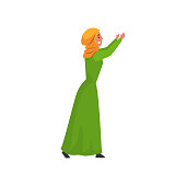 Beautiful Muslim Woman in Green Dress and Hijab, Arab Girl in Traditional Clothes Standing with Her Arms Raised Vector Illustration on White Background.