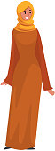 Beautiful Muslim Woman in Orange Dress and Hijab, Arab Girl in Traditional Clothes Vector Illustration Vector Illustration on White Background.