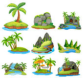 Beautiful Nature Island on White Background illustration