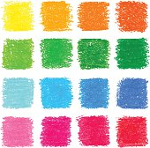 Vector set of oil pastel squares. Colorful template for your design.