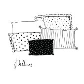 Beautiful pillows on a white background. Hand drawn vector.