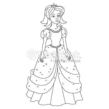 Chica Hermosa Princesa Como La Nieve Blanca Libro Para Colorear ...