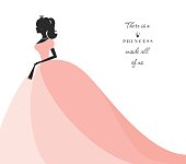 Beautiful princess silhouette in pastel pink dress. Isolated on white. Can be used for bridal shower invitation. Vector.