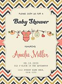 Beautiful retro baby shower card template with golden glittering details, vector format