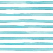 Beautiful seamless pattern with blue watercolor stripes. hand painted brush strokes, striped background. Vector illustration