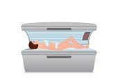 Beautiful sexy woman tanning in solarium,Tanning bed isolated on white background, interior vector illustration.