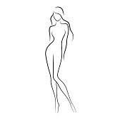 Beautiful slim nude young woman vector illustration. Fashion model with long hair isolated on white background.