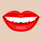 Beautiful smile with white teeth. Red lipstick, whiten healthy female teeth. Vector illustration