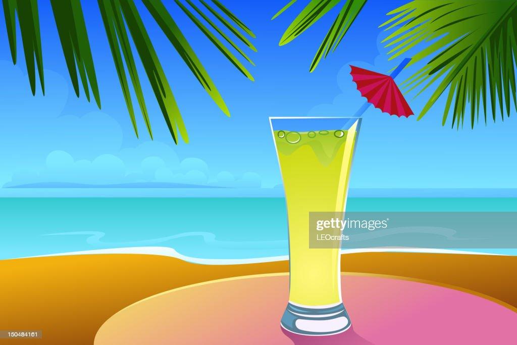 Beautiful Summer Background with Lemonade : Vector Art