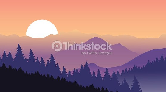 Beautiful Sunset At Mountains Vector Art