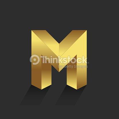 Beautiful Vector Graphic Gold Alphabet Letter M Symbol Vector Art