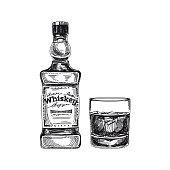Beautiful vector hand drawn beverage Illustration.  Detailed retro style alcoholic drink image. Vintage sketch Element for labels design.