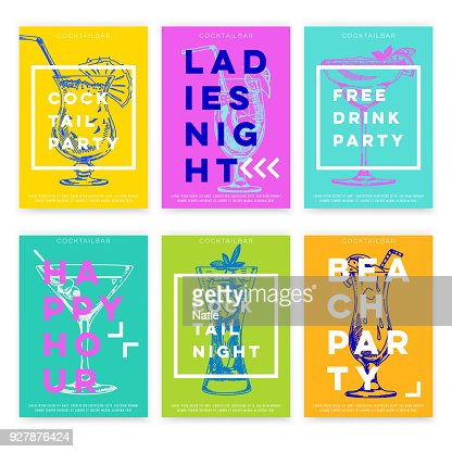 Beautiful vector hand drawn Cocktail bar card set. : Arte vetorial