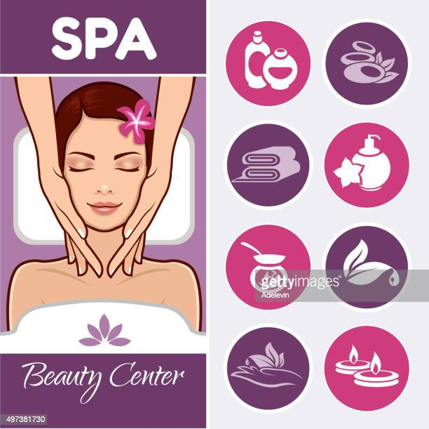 Beautiful woman and spa icons set