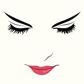 Portrait of a beautiful young woman with closed eyes. Easy editable layered vector illustration.