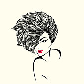 Young smiling female portrait with modern haircut.Beauty and spa logo.