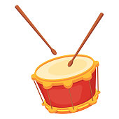 Beautiful wooden percussion musical instrument - drum with chopsticks. Traditional musical instrument drum for holidays, carnivals, fun events. Vector cartoon illustration isolated.