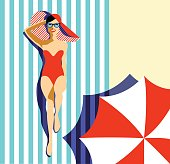 Beautiful young woman tanning, with sunglasses, hat, retro style. Pop art. Summer holiday. Vector eps10 illustration