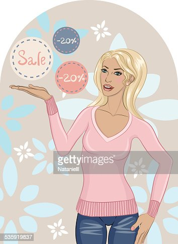 Beautiful young woman with discounts : Vector Art