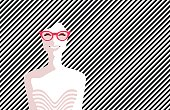 Beautiful young woman with glasses, retro style. Pop art. Summer holiday.