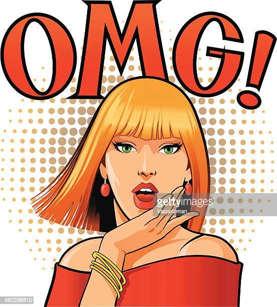 Blond OMG femme avec de magnifiques discours de ballons