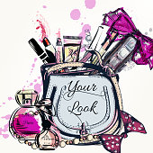 Fashion vector background with hand drawn female bag and cosmetics lipstick cream bow perfume and other