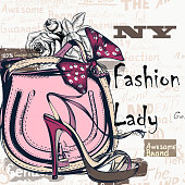 Fashion vector background with trendy bag and female shoe on high heels. Stylish lady concept