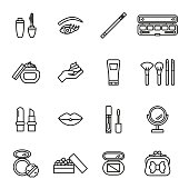 Beauty, cosmetic And Make-up Icons. Line Style stock vector.
