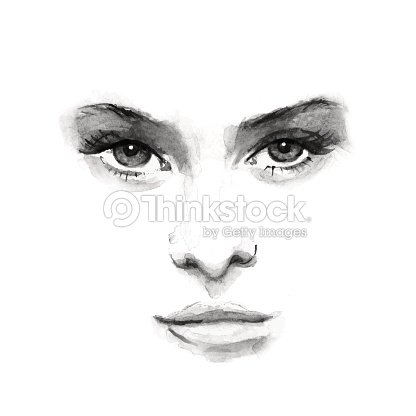 Beauty Face 1 Black And White Watercolor In Vector Art