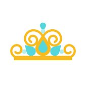 beauty pageant crown, jewelry related icon, flat design