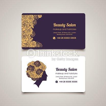 Beauty Salon Business Design Template Mit Schonen Frau Im Profil Vektorgrafik