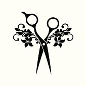 Beauty salon symbol, black color