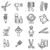 beauty saloon icons set. barbershop collection. Thin line design
