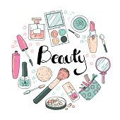 Beauty sketch background. Hand drawn doodle vector round illustration of cosmetic and fashion. Pastel colors. Hand lettering.