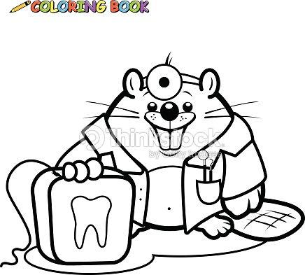 Beaver Dentista Sosteniendo Un Libro Para Colorear Página Seda ...