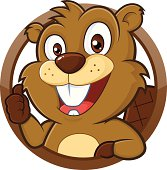 Clipart picture of a beaver cartoon character giving thumb up
