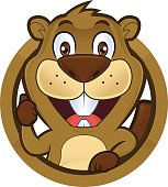 Clipart picture of a beaver cartoon character giving thumbs up in round frame