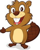 Clipart picture of a beaver cartoon character in welcoming gesture