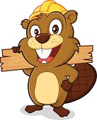 Clipart picture of a beaver cartoon character wearing a hard hat and holding a plank of wood