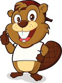 Clipart picture of a beaver cartoon character wearing a hat and a white t shirt