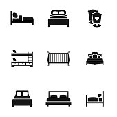 bed vector icons. Simple illustration set of 9 bed elements, editable icons, can be used in logo, UI and web design