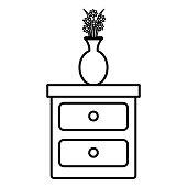 bedroom drawer with flower vase vector illustration design