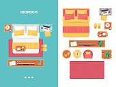 Bedroom floor plan top view. Furniture set for interior design. Isolated vector illustration