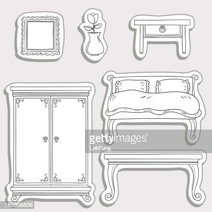 bedroom furniture in sticker style vector art bedroom furniture sticker style